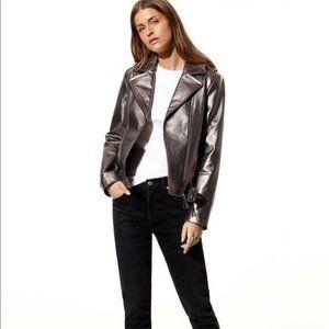 MACKAGE Florica Pewter Metallic Leather Jacket